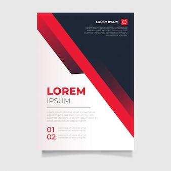 Flaches design der modernen schablone a4 des roten geschäftsfliegers für jahresbericht, titelseite, plakat