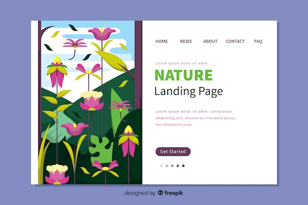 Flaches design der naturlandungsseite