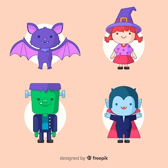 Flaches design der netten halloween-charaktersammlung