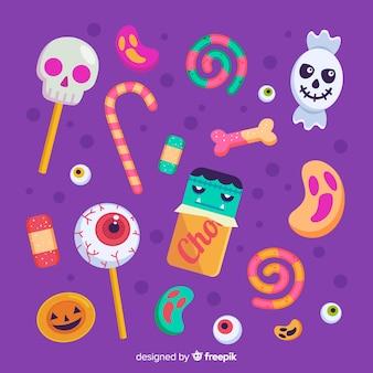 Flaches design der netten halloween-süßigkeitssammlung