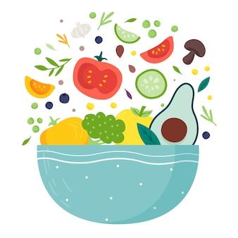 Flaches design der obst- und salatschüsseln