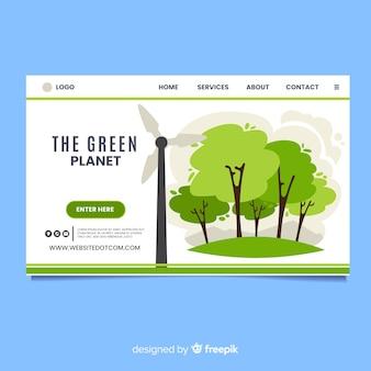 Flaches design der ökologielandungsseite