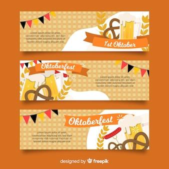 Flaches design der oktoberfest-fahnenschablone