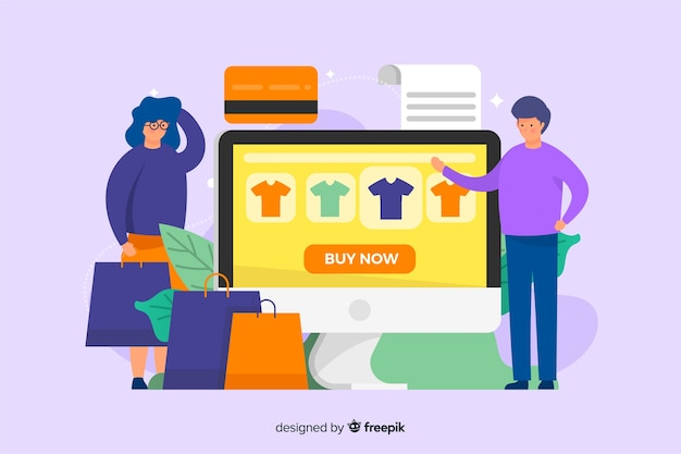 Flaches design der on-line-einkaufslandungsseiten-schablone