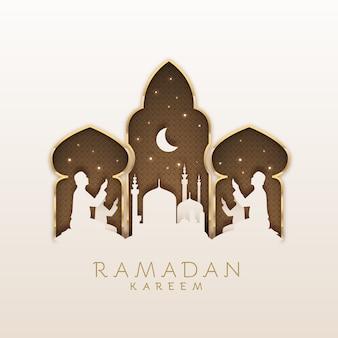 Flaches design der ramadan-feier