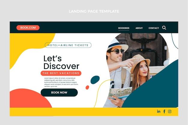 Flaches design der reise-landingpage
