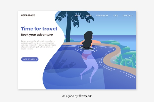 Flaches design der reiselandungsseite