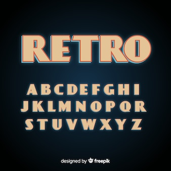 Flaches design der retro- alphabetschablone