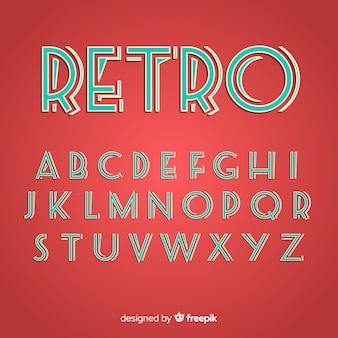Flaches design der retro- alphabetschablone