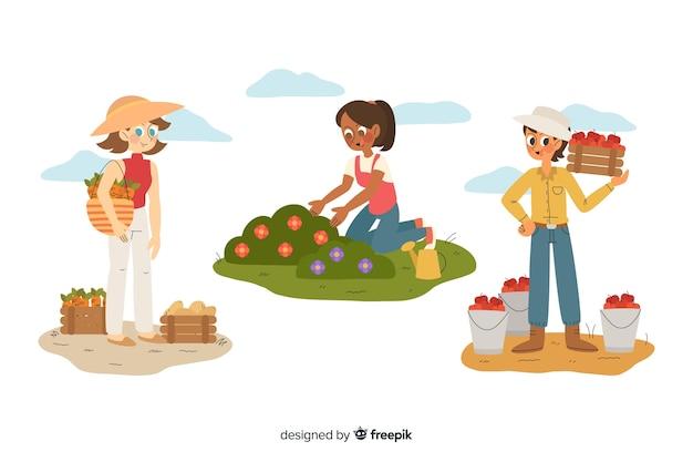 Flaches design der sammlung landarbeiter