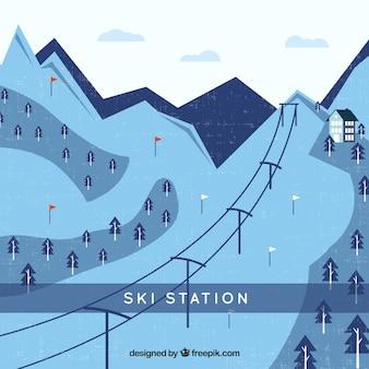 Flaches design der skistation