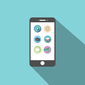 Flaches design der smartphone-ikone mit apps auf dem bildschirm.