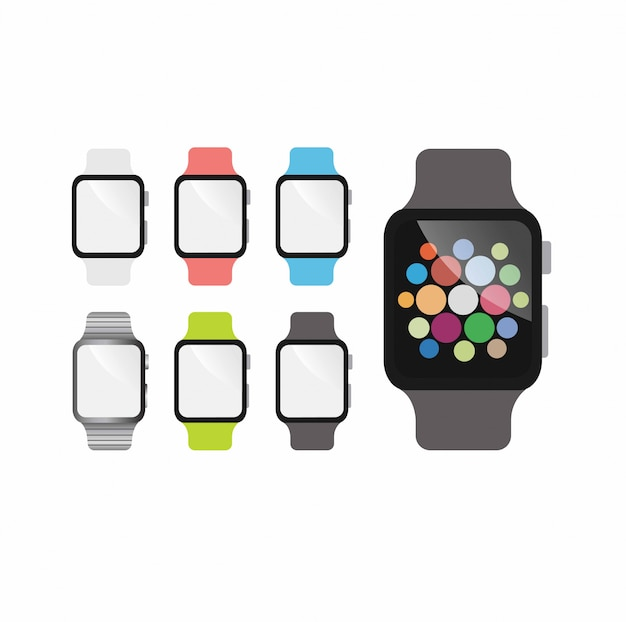 Flaches design der smartwatch-modellvorlage