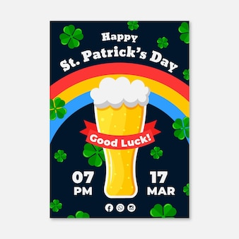 Flaches design der st. patrick's day flyer vorlage