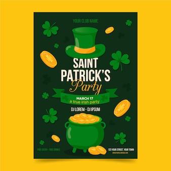 Flaches design der st. patrick's day poster vorlage