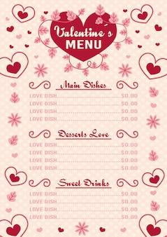 Flaches design der valentinstagmenüvorlage