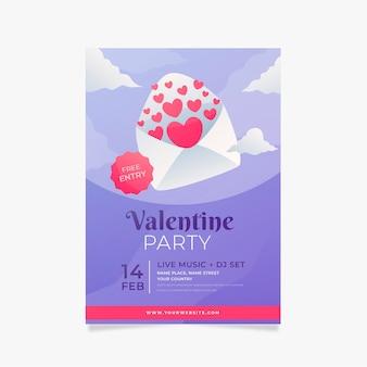 Flaches design der valentinstagspartyplakatschablone