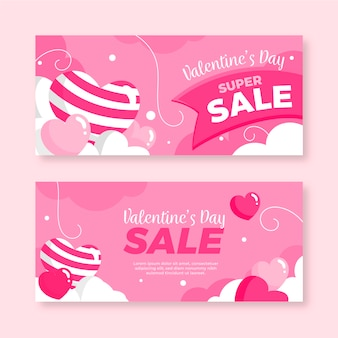 Flaches design der valentinstagverkaufs-fahnen