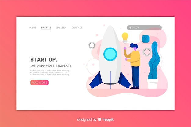 Flaches design der webseite start-up-schablone