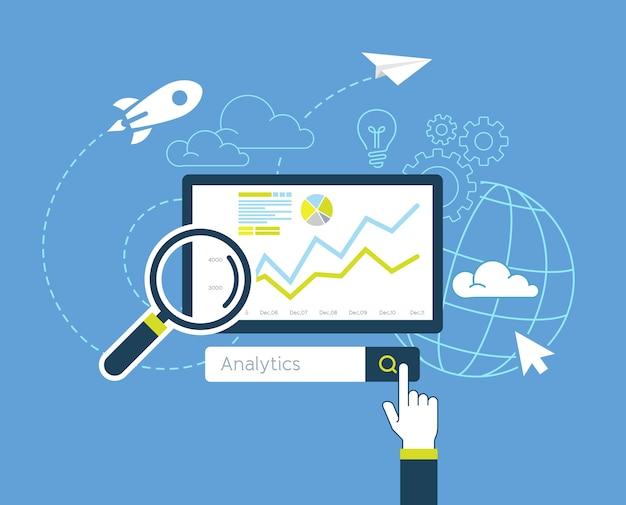 Flaches design der website für analytische suchinformationen