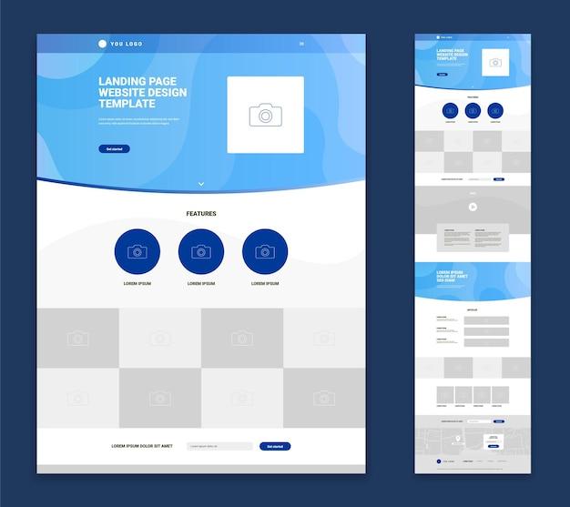 Flaches design der website-landingpage mit logo-foto kennzeichnet artikel video-kontaktformular isoliert auf blau