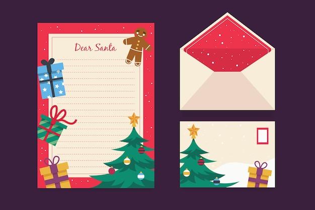 Flaches design der weihnachtsbriefpapierschablone