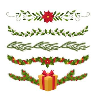 Flaches design der weihnachtsdekoration