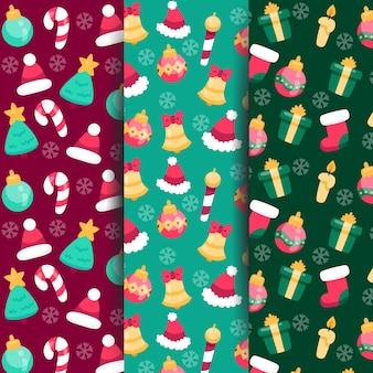 Flaches design der weihnachtsmustersammlung