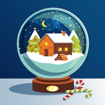 Flaches design der weihnachtsschneeball-kugel
