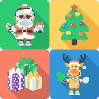 Flaches design der weihnachtssetikone