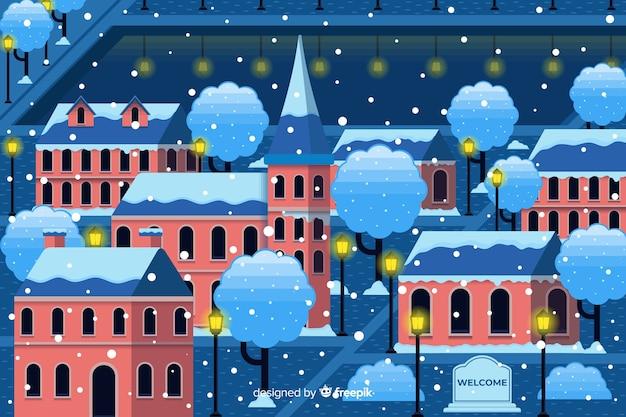 Flaches design der weihnachtsstadt