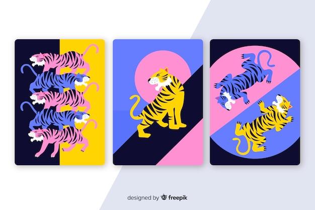 Flaches design der wilden tigerkartensammlung
