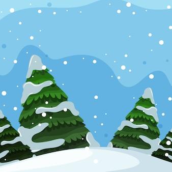 Flaches design der winterlandschaft