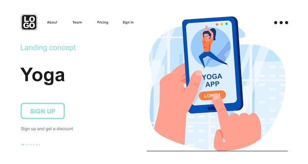 Flaches design der yoga-landingpage-vorlage