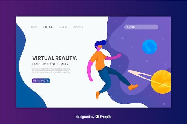 Flaches design der zielseite der virtuellen realität