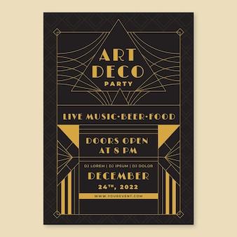Flaches design des art-deco-partyplakats