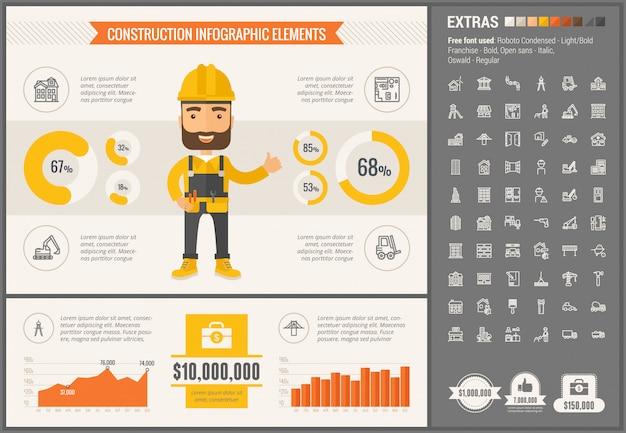 Flaches design des baus infographic-schablone
