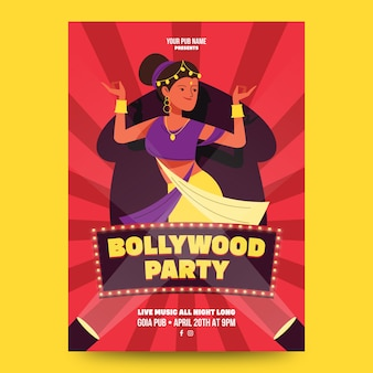 Flaches design des bollywood-partyplakats
