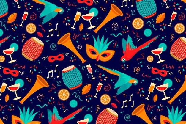 Flaches design des brasilianischen karnevalsmusters