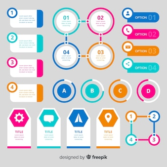 Flaches design des bunten infographic elements