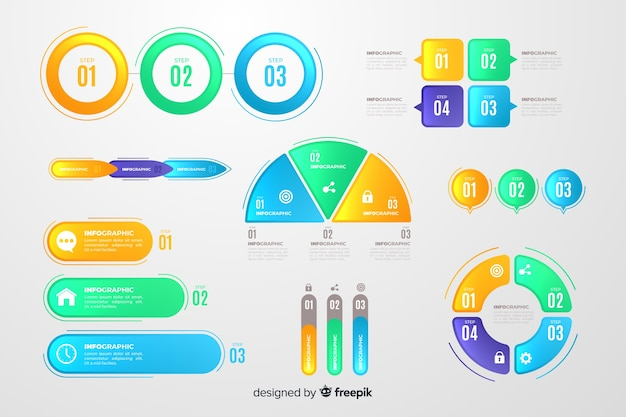 Flaches design des bunten infographic elements