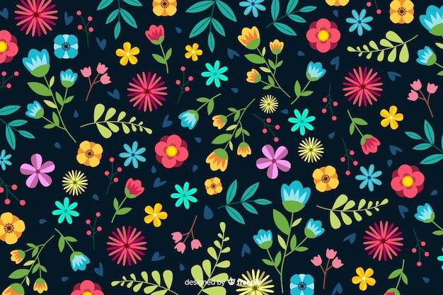 Flaches design des dekorativen blumenhintergrundes