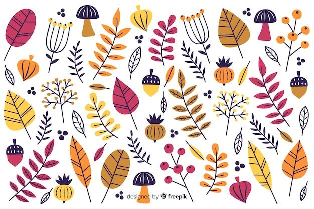 Flaches design des dekorativen hintergrundes des herbstes