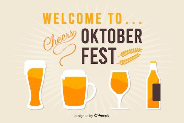 Flaches design des dekorativen oktoberfest-hintergrundes