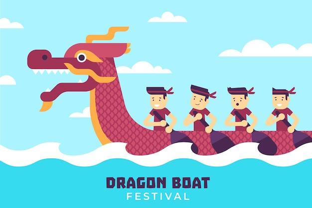 Flaches design des drachenboothintergrunds