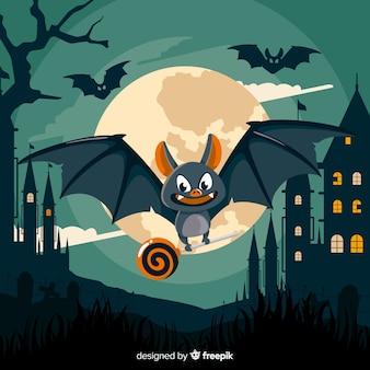 Flaches design des fliegens von halloween-schläger