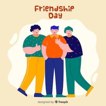 Flaches design des freundschaftstageshintergrundes