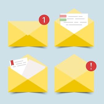 Flaches design des geöffneten und geschlossenen umschlags mit briefpapier.