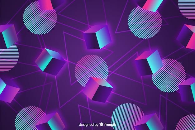 Flaches design des geometrischen hintergrundes der achtzigerjahre