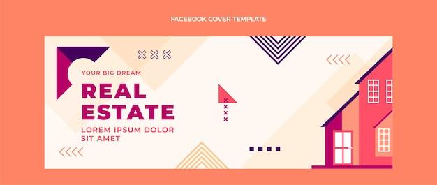 Flaches design des geometrischen immobilien-facebook-cover